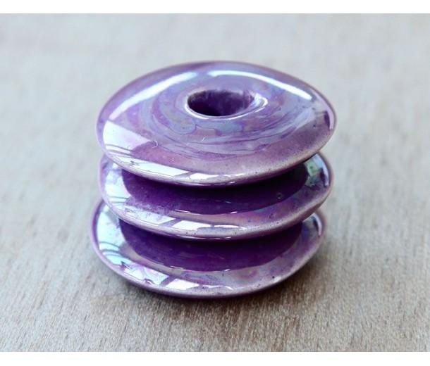 25mm Large Disk Iridescent Ceramic Focal Bead, Purple