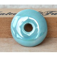 25mm Large Disk Iridescent Ceramic Focal Bead, Teal