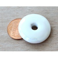 25mm Large Disk Iridescent Ceramic Focal Bead, White