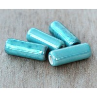 17x6mm Thick Tube Iridescent Ceramic Beads, Teal