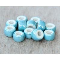 6x4mm Mini Barrel Iridescent Ceramic Beads, Teal