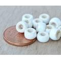 6x4mm Mini Barrel Iridescent Ceramic Beads, White, Pack of 10