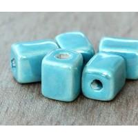 10x8mm Brick Iridescent Ceramic Beads, Teal