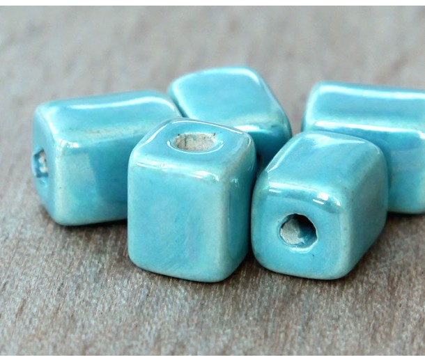 10x8mm Brick Iridescent Ceramic Beads, Teal