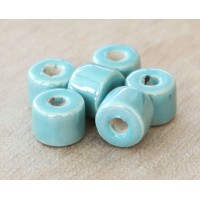 8x7mm Short Barrel Iridescent Ceramic Beads, Teal