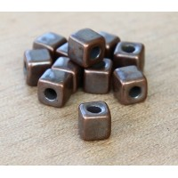 5mm Cube Metalized Ceramic Beads, Bronze Plated