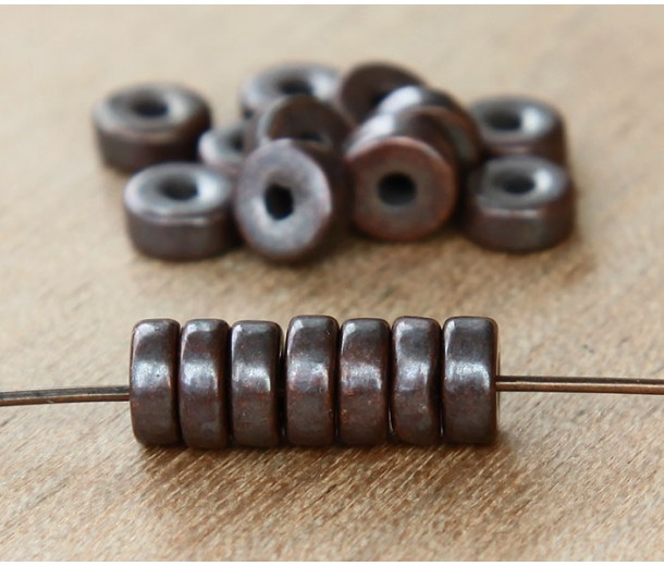 6mm Round Heishi Disk Metalized Ceramic Beads, Bronze, Pack of 20
