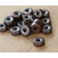 6mm Round Heishi Disk Metalized Ceramic Beads, Bronze Plated