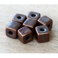 7mm Cube Metalized Ceramic Beads, Bronze Plated