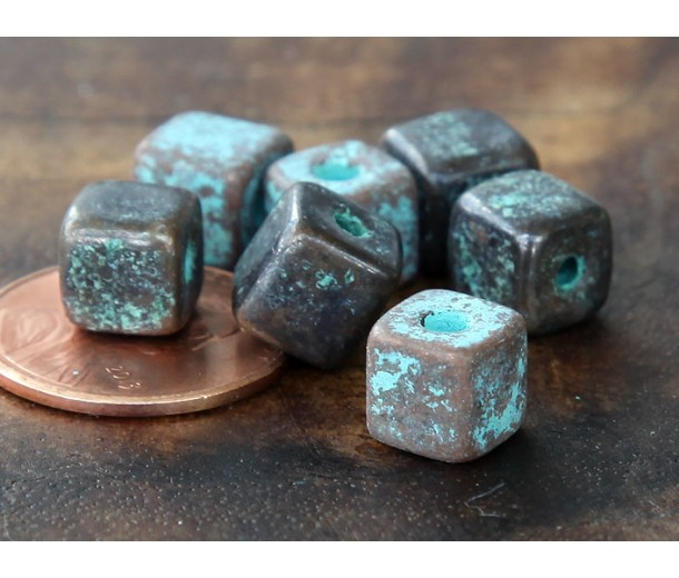 7mm Cube Metalized Ceramic Beads, Green Patina, Pack of 10