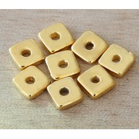 8mm Square Heishi Disk Metalized Ceramic Beads, Gold Plated