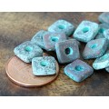 8mm Square Heishi Disk Metalized Ceramic Beads, Green Patina, Pack of 10