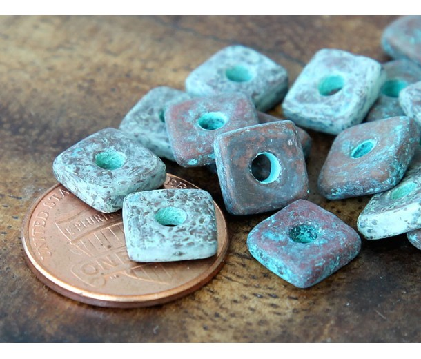 8mm Square Heishi Disk Metalized Ceramic Beads, Green Patina