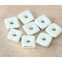 8mm Square Heishi Disk Metalized Ceramic Beads, Silver Plated
