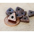 10mm Triangular Heishi Disk Metalized Ceramic Beads, Bronze Plated