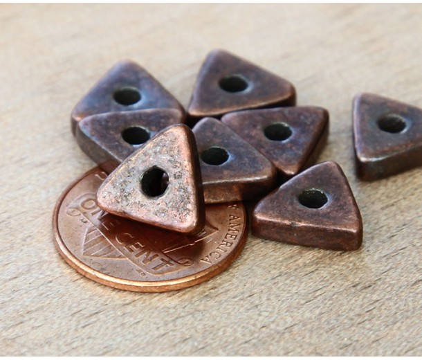 10mm Triangular Heishi Disk Metalized Ceramic Beads, Bronze Plated, Pack of 10