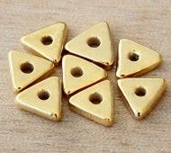 10mm Triangular Heishi Disk Metalized Ceramic Beads, Gold Plated