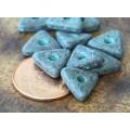 10mm Triangular Heishi Disk Metalized Ceramic Beads, Green Patina
