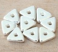 10mm Triangular Heishi Disk Metalized Ceramic Beads, Silver Plated