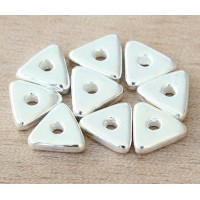 10mm Triangular Heishi Disk Metalized Ceramic Beads, Silver Plated, Pack of 10