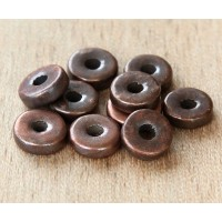 8mm Round Heishi Disk Metalized Ceramic Beads, Bronze Plated, Pack of 20