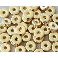8mm Round Heishi Disk Metalized Ceramic Beads, Gold Plated