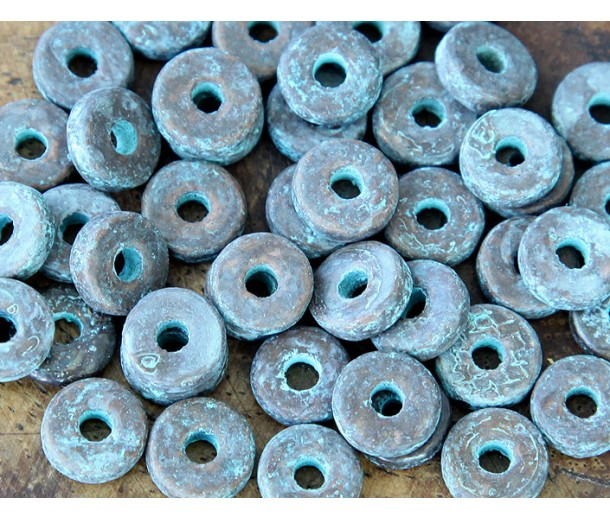 8mm Round Heishi Disk Metalized Ceramic Beads, Green Patina