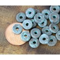 8mm Round Heishi Disk Metalized Ceramic Beads, Green Patina, Pack of 20