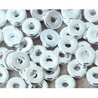 8mm Round Heishi Disk Metalized Ceramic Beads, Silver Plated, Pack of 20