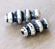 13x30mm Spiral Column Metalized Ceramic Bead, Antique Silver