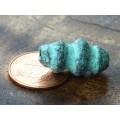 13x30mm Spiral Column Metalized Ceramic Bead, Green Patina, 1 Piece