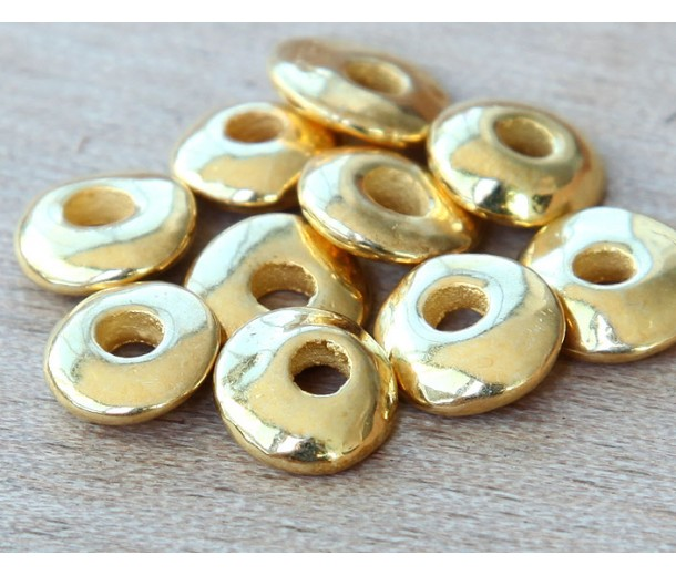 10x8mm Cornflake Disk Metalized Ceramic Beads, Gold Plated, Pack of 6