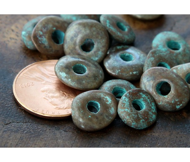 10x8mm Cornflake Disk Metalized Ceramic Beads, Green Patina