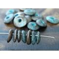 10x8mm Cornflake Disk Metalized Ceramic Beads, Green Patina