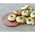 10x8mm Cornflake Disk Metalized Ceramic Beads, Gold Plated