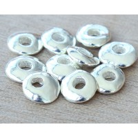 10x8mm Cornflake Disk Metalized Ceramic Beads, Silver Plated, Pack of 6