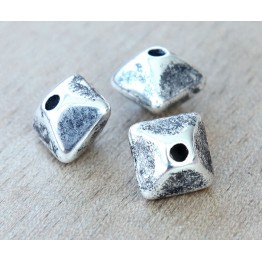 12mm Pillow Metalized Ceramic Beads, Antique Silver