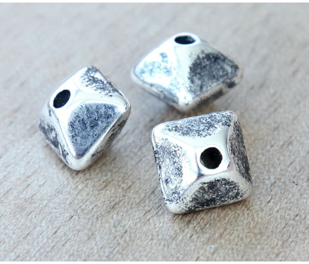 12mm Pillow Metalized Ceramic Beads, Antique Silver, Pack of 3