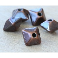 12mm Pillow Metalized Ceramic Beads, Bronze Plated, Pack of 4
