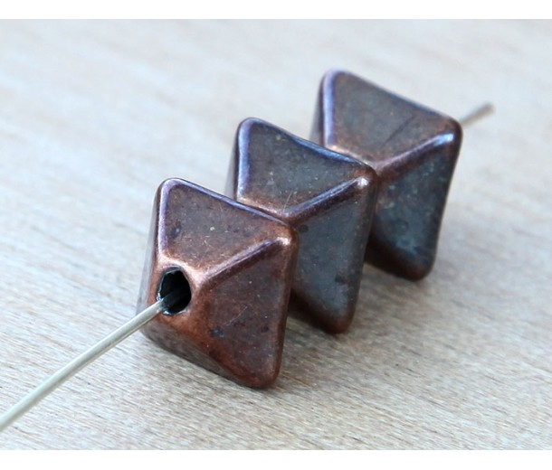 12mm Pillow Metalized Ceramic Beads, Bronze Plated