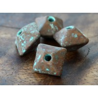 12mm Pillow Metalized Ceramic Beads, Green Patina, Pack of 3