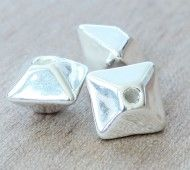 12mm Pillow Metalized Ceramic Beads, Silver Plated