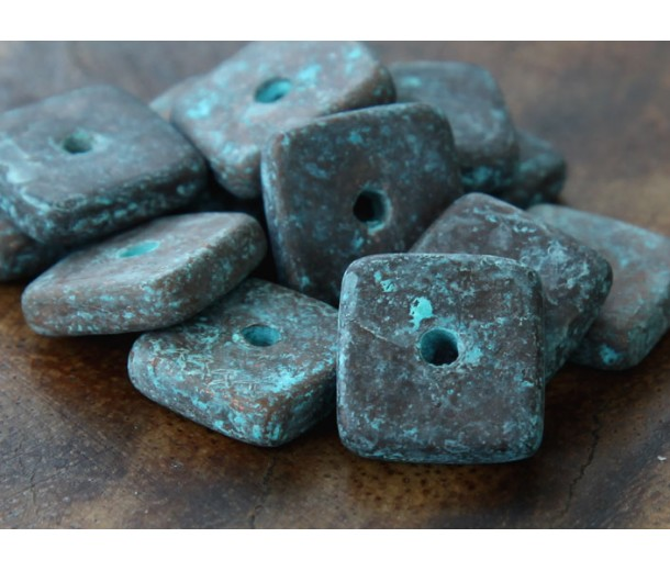 12mm Square Disk Metalized Ceramic Beads, Green Patina