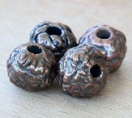 12mm Fancy Round Metalized Ceramic Beads, Bronze Plated