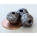 12mm Fancy Round Metalized Ceramic Beads, Bronze Plated, Pack of 3
