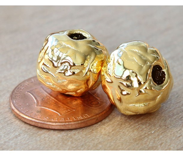 12mm Fancy Round Metalized Ceramic Beads, Gold Plated