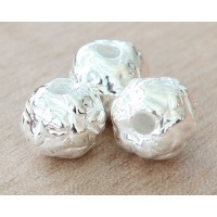 12mm Fancy Round Metalized Ceramic Beads, Silver Plated