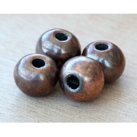 12mm Round Metalized Ceramic Beads, Bronze Plated