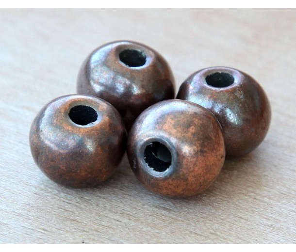 12mm Round Metalized Ceramic Beads, Bronze Plated, Pack of 3