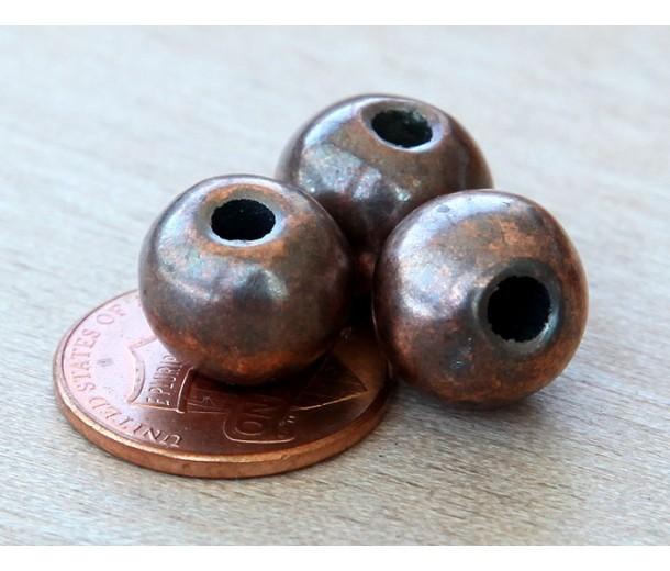 12mm Round Metalized Ceramic Beads, Bronze Plated